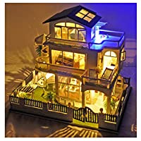 SYLTL Handmade Dollhouse, with Furniture and Accessories Three-storey Villa LED Lights DIY Doll House with Dust Cover Craft Kits Dolls House