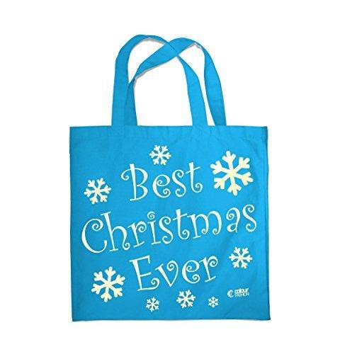 COLOUR FASHION Best Christmas Ever Spesa Spiaggia Palestra Borsa di stoffa 0085 Blu Medio