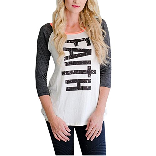 Coversolate Las señoras de las mujeres ponen en cortocircuito las camisetas de la blusa del suéter del cuello de la letra (M, Blanco)