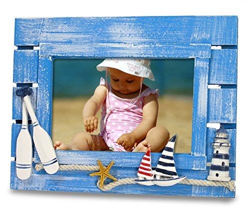 Beach Bilderrahmen mit Segelboote & Leuchtturm-Verwitterte Ocean Blau Holz Hintergrund, Nautical Kinder Zimmer-Für 4x 6Foto