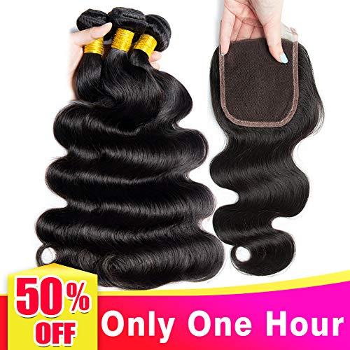 Lananel 8a capelli vero brasiliano con chiusura 4*4 body wave capelli umani naturali 3 bundle con chiusura capelli brasiliani (10 12 14 +10inch) capelli umani vergini