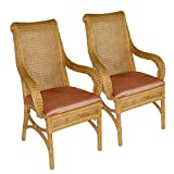casamia Rattan-Stuhl-Set 2 Stück mit Armlehnen und Sitzkissen Lino Cherry, Farbe Sierra