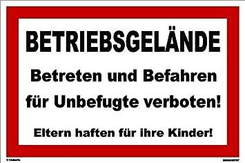 Baustelle schild frau  Kleberio® Warnschild 30 x 20 cm - Betriebsgelände Betreten und ...