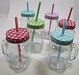 6 x Trinkgläser Einmachglas mit Henkel, Deckel und Strohhalm, 4500ml 78/7855