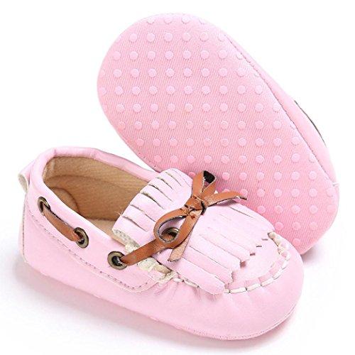 Hunpta Babyschuhe jungen Mädchen Neugeborenen Leder Krippe weiche Sohle Schuhe Sneakers (Alter: 6 ~ 12 Monate, Weiß) Rosa