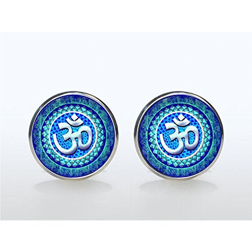 Om Manschettenknöpfe Yoga Jewelry Lotus Blume Manschettenknöpfe, OM Symbol, Buddhismus, Zen Art Custom Manschettenknöpfe Geschenke für ihn