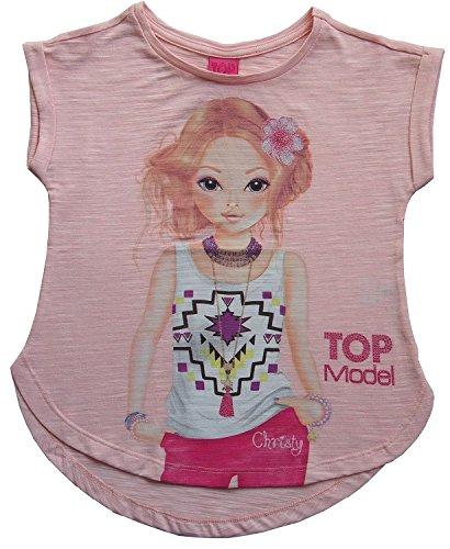 Mädchen TOP Model Shirt mit Christy, rosa meliert (140)