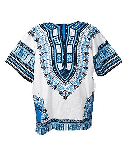 Lofbaz - Unisex Dashiki - Traditionelles Oberteil mit afrikanischem Druck Weiß & Blau