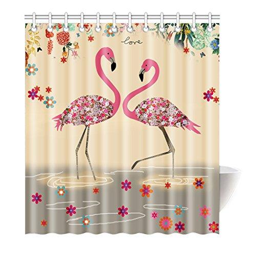 Preisvergleich Produktbild Violetpos Duschvorhang Flamingo Art Rosa Blume Hochwertige Qualität Badezimmer 120 x 180 cm