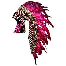 Y04 Sombrero Indio , Penacho , Tocado de plumas de color rosa o fucsia con pelo marrón