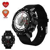 TLgf Smart Watch Herzfrequenz-Monitor Fitness-Pedometer, SIM-Karte Bluetooth-Anruf, GPS-Navigation, WLAN-Netz, IP67 Schwimmen wasserdicht, Message-Push,Black