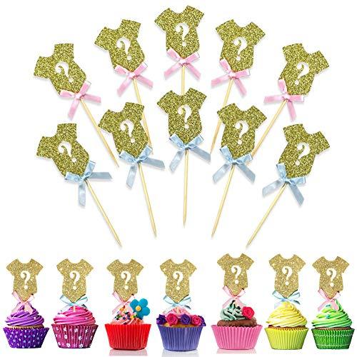 24Stück glitzer Geschlecht Reveal Cupcake Topper Baby Dusche Kuchen Topper Geburtstag Party Cupcake Dekorationen