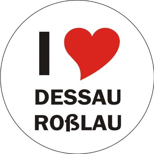 Aufkleber / Sticker / Autoaufkleber - I LOVE Dessau-Roßlau - JDM / Die cut / OEM - Auto / Heckscheibe - aussenklebend, rund, Größe: 80mm