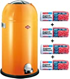 Wesco Kickmaster orange 33-Liter Mülleimer + 56 Stück optimal passende Müllbeutel