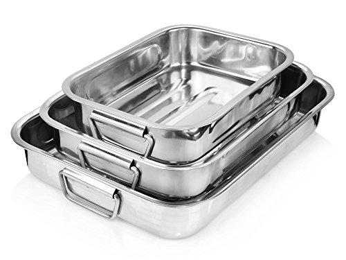 Bluespoon Bräter Set aus Edelstahl 3 teilig   2,3 L, 3,2 L, 4,1 L   Griffe zum besseren Handling   Ofenformen Set für variable Anzahl von Gästen   Geeignet für Lasagne, Gratins, Aufläufe (Universal-bräter)