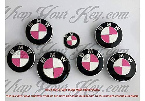 Rosa & Weiß Kohlenstofffaser Abzeichen Emblem Vinyl Überzug Aufkleber Superwrappz Bezüge für BMW Haube Koffer Felgen Räder für Alle Serie 1 2 3 4 5 6 7 X1 X2 X3 X4 X5 X6 Z1 Z3,Z4,Z8,M Sport,X-Drive (Bmw 3 Serie Felgen)