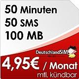 DeutschlandSIM SMART 50 [Nano - SIM] monatlich kündbar (100MB Daten-Flat, 50 Frei-Minuten, 50 Frei-SMS, 4,95 Euro/Monat, 15ct Folgeminutenpreis) Vodafone-Netz