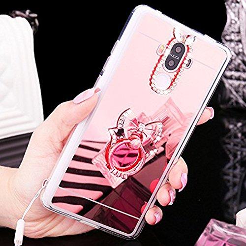 Custodia Cover per Huawei Honor V8, Ukayfe Cover Specchio Lusso Placcatura Lucido di Cristallo di Scintillio Strass Diamante Glitter Caso per iPhone 7 Plus[Crystal TPU] [Shock-Absorption] Protettiva U Arco Oro rosa 4#