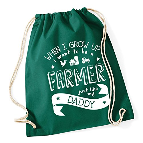 HippoWarehouse When I Grow Up I Want to be a Farmer Just Like My Daddy kids unisex Hoodie hooded top Drawstring Cotton School Gym Kid Bag Sack 37cm x 46cm, 12 litres