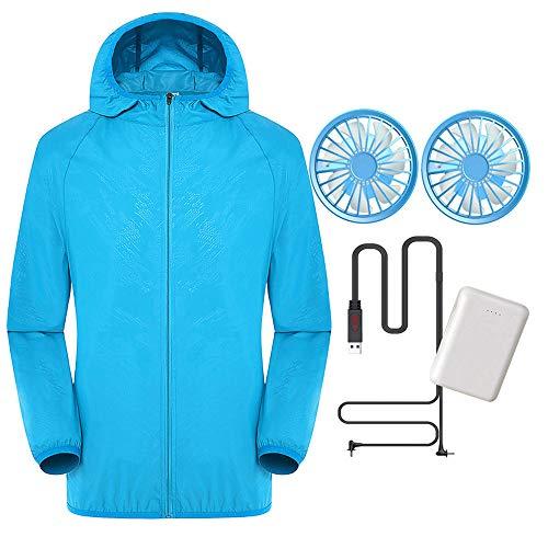 CONRAL Frauen Sonnenschutz Strand Shirt Tops Kleidung, Gebaut in Lüfter Langarm Anti-UV Unisex Sommer Mantel Hoodie, Wasserdicht und Atmungsaktiv, Mit 10000mAh Power Bank, S-5XL,Blue-M (Zip Top Haut)