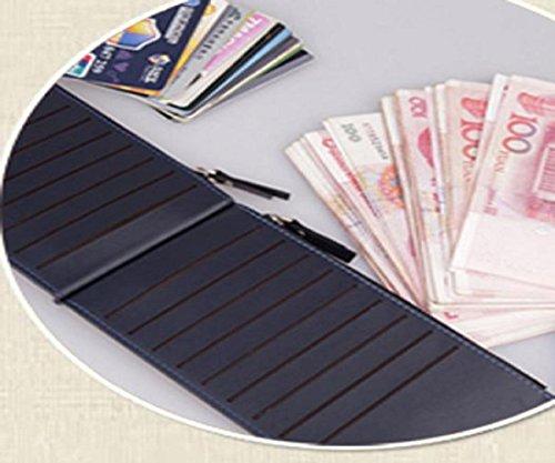 Geldbörsen, Rcool Männer Leder Karte Bargeld Erhalt Tasche ultra-dünnen Reißverschluss Geldbörse (Schwarz) Blau