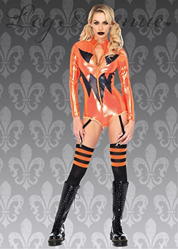 Womens Halloween Bodysuit Kürbis Kostüm S (UK (Ladies Dress Fancy Niedliche Kostüme)