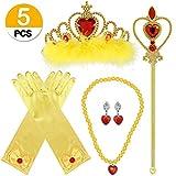 VAMEI Prinzessin Dress up Party Zubehör mit Krone Wand Handschuhe Halskette Ohrringe Ring Tiara Zopf Zauberstab Maske Set (Belle A)