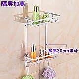Wand-hängende Toiletten-Rack Doppel-Dreieck-Rahmen-Badezimmer-Eckrahmen-Kosmetik-Speicher-Zahnstange, doppelte Plattform-Erhöhung