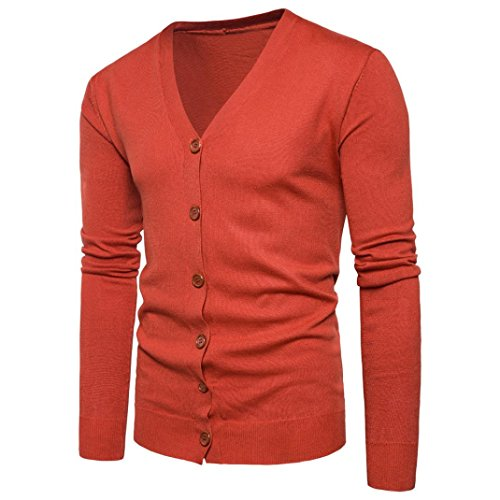 Herren Pullover, Hansee Männer Herbst Winter Knopf V-Ausschnitt Langarm Strickpullover Strickjacke Mantel (L, Orange) (Junior-uniform Die)