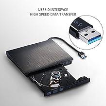 Grabadora de DVD externa, QMQ Unidad Grabadora USB 3.0 Graba y Lee CD-ROM, DVD-ROM, CD-RW/ DVD-RW con Cable de Alimentación USB Integrado para PC portátil o sobremesa Sony, Toshiba, Acer, Asus, HP, Dell, IBM, Macbook, Macbook Pro, Notebook, etc. Compatibilidad Universal