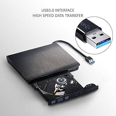 Disco duro externo de DVD USB 3.0, ultra slim portátil DVD VCD CD RW Rom grabadora reproductor de unidad óptica grabadora quemador lector para Netbook, ordenador portátil, PC, Mac y
