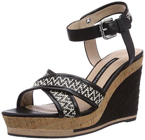 french-connection-lata-sandalias-de-vestir-de-lona-para-mujer-color-negro-talla-40