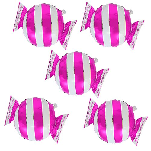 Kostüm Candy Baby - Fenteer 5pcs Folienballon Streifen Süßigkeiten DIY Geburtstags folieballon deko Candy Heliumballon für Valentinstag Hochzeit Party Baby Dusche Party - Rose, 48 x 65 cm