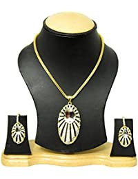 Bhagya Lakshmi Traditional Gold Plated Pendent Necklace With Earrings For Women