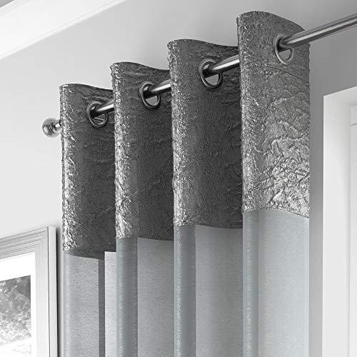 Mirabel - Elegante Gardine mit Ösen - Crincle-Optik - transparent - 1 Schal - Silberfarben - 135 x 229 cm B x L