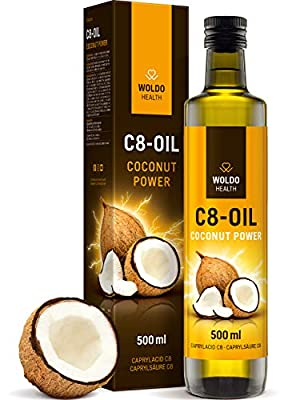 C8 MCT Oil 99.8% Purity 500ml - for Keto and Bulletproof Coffee from WoldoHealth