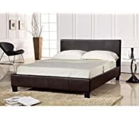 3ft Single Faux Leather Bed Frame in Black Prado by Comfy Living