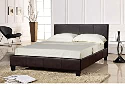 Prado Faux leather King Size 5.0 Ft Bedstead in Brown Colour (Frame Only)