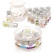 Lámpara de aceite cerámica–Estuche regalo con 12aceites aromáticos