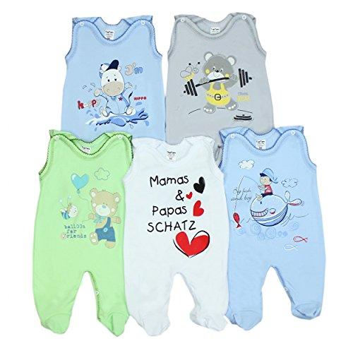 5er Set Baby Strampler 100% Baumwolle Babystrampler Strampelanzug Junge Mädchen, Farbe: Junge 2, Größe: 74