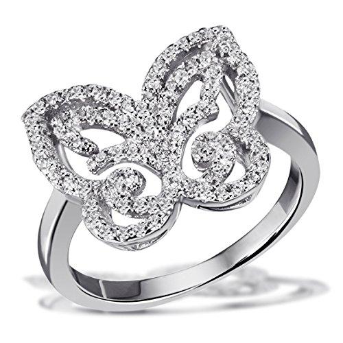 Goldmaid Damen-Ring Schmetterling 925 Silber rhodiniert Zirkonia weiß Brillantschliff Gr. 60 (19.1) - Fo R7198S60 Schmuck (Gold 9ct Schmetterling Ring)