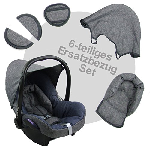 BambiniWelt Ersatzbezug für Maxi-Cosi CabrioFix 6 tlg. GRAU / MARINE *NEU* Bezug für Babyschale Sommerbezug Cabrio Fix - 2