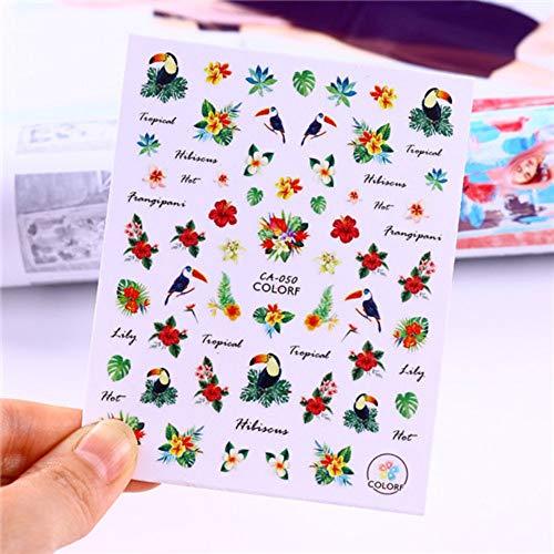 LXYQW Nagelsticker Vogel Nail Sticker Tropische Blume Vogel DIY Nail Art Transfer Sticker Dekoration (Blume Tropische Tattoo)