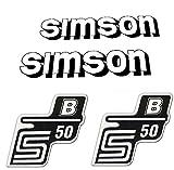 Set: Aufkleber - Klebefolie SIMSON - S50 - B - WEISS - für Tank und Seitendeckel