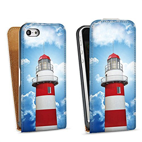 Apple iPhone 5s Housse Étui Protection Coque Phare Ciel Nuages Sac Downflip blanc