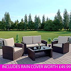 Rattan Garden Furniture Sofa Set Patio WITH RAIN COVER Conservatory New Wicker Weave Furniture Patio Conservatory 2 or 3 Seater Sofa (Brown, Algarve 2+1+1)