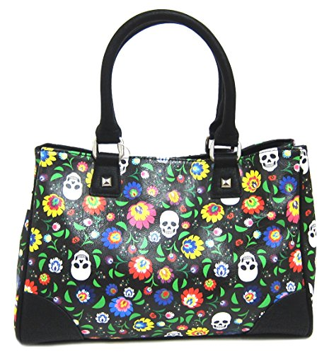 loungefly-floral-white-skull-print-tote