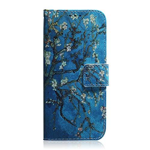 Coopay Vintage Blau Weiß Blume Brieftasche für Samsung Galaxy J6 Plus,Karten Slot Standfunktion Magnetverschluss Hülle,Klappbar Kunstleder Handytaschen,Rutschfeste Stoßdämpfend Etui + Schlüsselband
