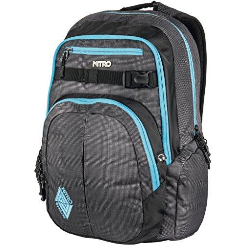Nitro Chase Rucksack, Schulrucksack mit Organizer, Schoolbag, Daypack mit 17 Zoll Laptopfach,  Blur/Blue Trims