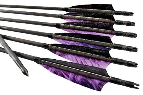 Arrowforge - Pfeile schwarze traditionelle Holzpfeile Camo Lila (6er Pack) Bogenschießen (Pfeile Lila)